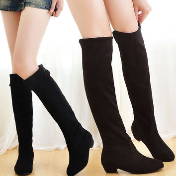 2016 New Fashion Sweet Lady Shoes High Thigh Knee Autumn Winter Over-the-Knee Casual Women Boots Plus Size Boots for Women O106