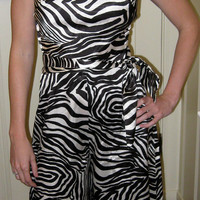 60s Glam Jumpsuit / Sexy Pantsuit / Zebra / Mod / Joseph Magnin /  Small / Old Hollywood
