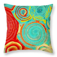 DECORATIVE PILLOW Running in Circles, colorful swirls design, home decor, scatter cushion, dorm decor, turquoise red yellow home accents