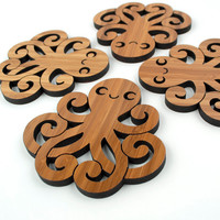 Bamboo Happy Octopus Coasters: Wood Ocean Nautical Decor  (Set of 4)