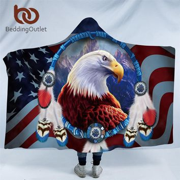 BeddingOutlet Eagle Collection Hooded Blanket 3D Print Sherpa Fleece Wearable Blanket Adults Dreamcatcher Throw Blanket 150x200