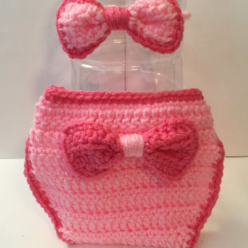 Bow Baby Outfit - Photo Prop - Newborn to 12 Months - Any Color