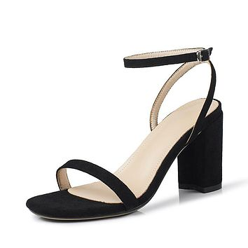 Suede Chunky Heels Sandals for Women 8486