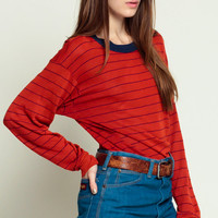 Striped Shirt Long Sleeve Shirt RINGER Tee Red Stripe Navy Blue 80s Grunge Retro Top 70s Retro Sporty 1980s Pullover Large XL