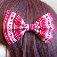 "Kawaii Harajuku Fairy Pop Kei Lolita Decora Dolly Japanese Fashion Soft Grunge Pastel Goth Heart ""Love Love Love"" Hair Bow Tie"
