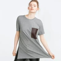 Gray Side Open Long T-shirt