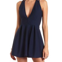 Deep V Strappy-Back Skater Dress by Charlotte Russe - Navy