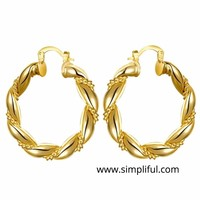 Light Yellow gold plated Twisted Ring Earring