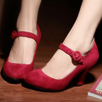 Spool High Heel Shoes Hot Pink Black Red Royal Blue Suede Mary Jane Pumps Tb0341