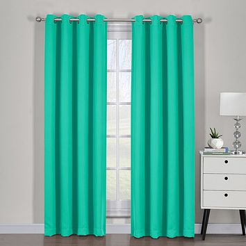 Turquoise 54x63 Ava Blackout Weave Curtain Panels With Tie Backs Pair (Set Of 2)