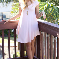 The Last Song Peach Casual V-Neck T-Shirt Dress