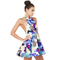 Floral Halter Backless A-Line Mini Skater Dress