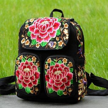 CREYON Day First Canvas Ethnic Embroidered Backpack Travel Bag