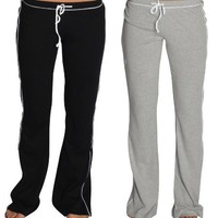 Alki'i 2-Pack Junior Womens lounge/workout/gym/yoga pants - BlackAndGrey L