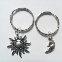 Two best friends keychains sun and moon charms bff couples sisters BFF