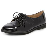 Black lace up shiny brogues