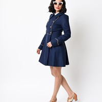 Vintage Style Navy & Gold Into the Night Military Coat
