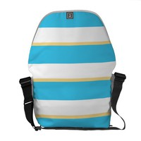 Blue Yellow Stripes Messenger Bag Outside Print