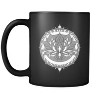 Flower Coffee Mug - Unique and Stunning Lotus design on black 11oz ceramic mug
