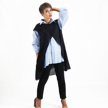 Black Cardigan, Ladies Tunic Top, Plus Size Top, Long Cardigan with Pockets, Wool Cardigan, Plus Size Tunic, Evening Shrug