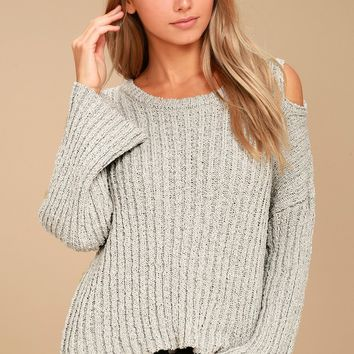 Juniper Beige Cold Shoulder Sweater