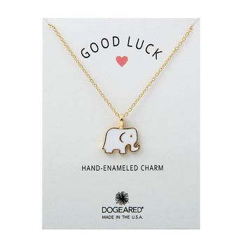 White Drop Oil Elephant Card Alloy Clavicle Pendant Necklace   171212