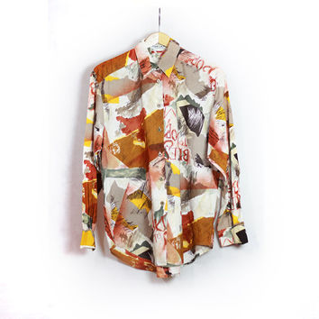 Vintage JAEGER Abstract Shirt Watercolor -  Fun watercolor print color design - Metal Buttons - Small - Medium - Boyfriend Shirt