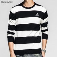 ADIDAS 2018 autumn new slim embroidered men's striped round neck long-sleeved sweater Black+white