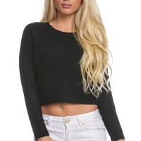 BLACK KNIT ROUND NECK LONG SLEEVE CROPPED SWEATER