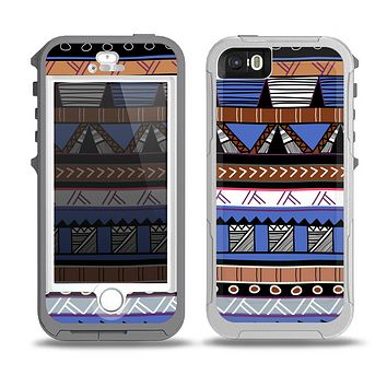 The Abstract Blue and Brown Shaped Aztec Skin for the iPhone 5-5s OtterBox Preserver WaterProof Case