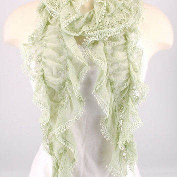Ruffle Lace Crochet Stretch Sage Green Scarf Women Summer Spring Creations by Terra