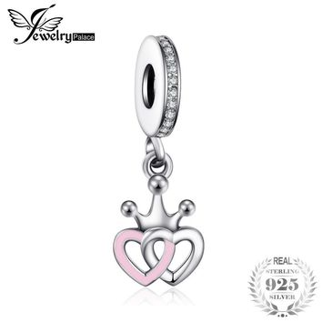 JewelryPalace Royal Love 925 Sterling Silver Charm Bracelet Bangle Bead Heart Fashion Jewelry Anniversary Gift For Her Women