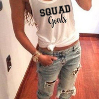 Squad goals tank top in racerback funny tank top ladies girls women instagram tumblr gift, tank top women, tank tops with sayings