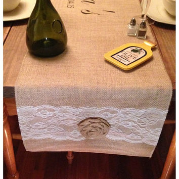 "Burlap Table Runner  12"", 14"", or 15"" wide with a Name & est date in center of runner and lace and roses on the ends"