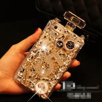 1 pc Free Shipping Luxury Handmade Diamond Bling Perfume Bottle Case For iPhone 4 4S 5 5S 5c 6 6 Plus TPU Cover with Brand Logo