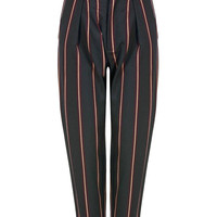 Black Tapered Trousers with Striped Design