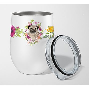 Fawn Pug Pink Flowers Stainless Steel 12 oz Stemless Wine Glass CK4218TBL12
