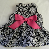 Dog dress in black damask and hot pink XXS-M