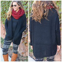 SZ LARGE One Of A Kind Black Knit Open Cardigan