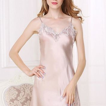 Ladies Silk Short Nightgown W/ Lace