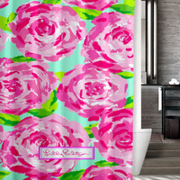 "New Design Favorite Lilly Pulitzer Pattern Roses Custom Shower Curtain 66"" x 72"""