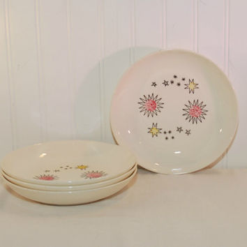Scarce Stetson China Company Star Pattern Bowls (c. 1950's) Mid Century Bowls, Soup Bowl, Vintage Dinnerware, Red & Yellow Star Bursts