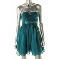 As U Wish Womens Juniors Sequined Strapless Semi-Formal Dress