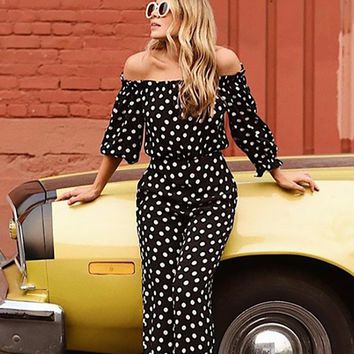 Polka Perfect Black White Dot Pattern Long Sleeve Off The Shoulder Ruffle Wide Leg Loose Jumpsuit