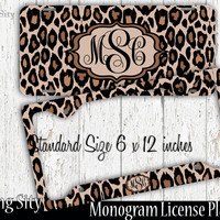 Leopard Print Monogram License Plate Frame Holder Metal Wall Sign Tags Personalized Custom Vanity Plate
