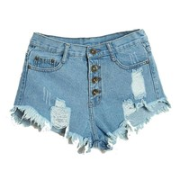 Women's Sexy High Waisted Denim Jean Shorts.    AKA: Daisy Dukes.   In Sizes From Small to XL.    In Dark Blue, Black, Sky Blue, Pink, Light Blue, White and Blue.   ***FREE SHIPPING***