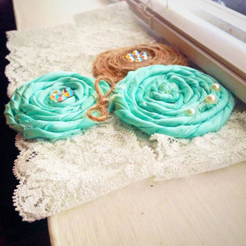 Wedding Garter / Tiffany blue Garter Set / Rustic Bridal Garter / Toss Garter / Something Blue Wedding Garter / Lace Garter/ Shabby Chic