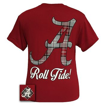 SALE Alabama Crimson Tide Big Plaid Logo State Girlie Bright T Shirt
