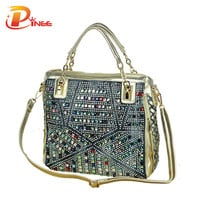 2016 fashion brand luxury bag designer handbags high quality gold diamante woven denim bags shipping