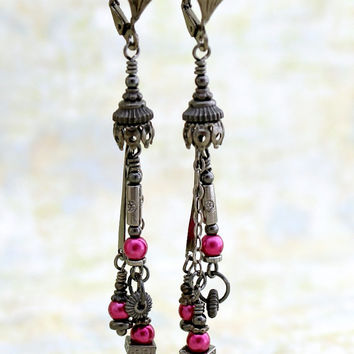 Goth Steampunk Earrings - Black and Hot Pink Gothic Jewelry - Black Dangle Earrings - Preppy Goth Steampunk Jewelry
